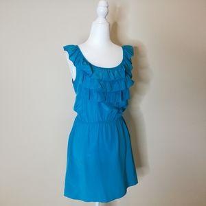 Amanda uprichard turquoise ruffle dress